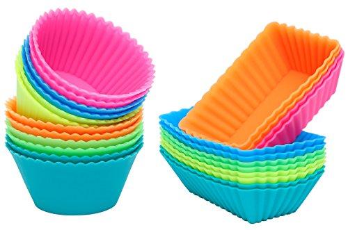 Ipow 24-Pack Silikon muffinform Muffin Cupcake Backförmchen Muffinförmchen 6 Farben für Muffins, Brownies, Cupcakes, Kuchen, Pudding [Neue Version]