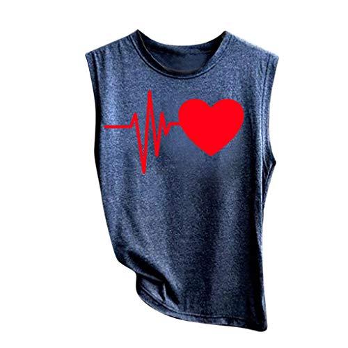 Oyedens Damen Herzschlag Liebe Tank Tops Tees Rundhals Ärmellos Basic T-Shirt Oberteil, hochwertige Materialien, weiches ()