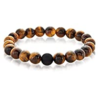 Crucible Jewelry Mens Polished Tiger Eye and Black Matte Onyx Bead Stretch Bracelet (10mm), Brown, One Size