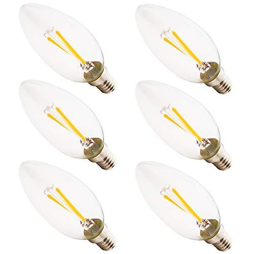 Glühfaden E14 Kerze LED Lampe Retrofit Classic C35 2W Filament LED Birne Ersetzt 40W Glühlampe 200 Lumen 2700K Warmweiss klar Glas klassische Kolbenform, Nicht Dimmbar, 6er-Pack (Basierten Lampen Led-kandelaber)