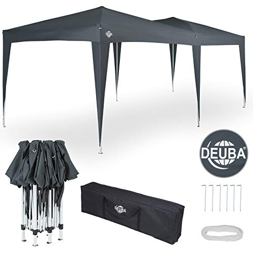 Deuba® Pavillon Capri 3x6m | wasserdicht Pop-Up inkl. Tasche UV-Schutz 50+ | Faltpavillon Gartenzelt Partyzelt Anthrazit