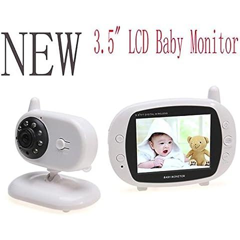 Monitor de bebé, POTOBrand cuidado de la visión de la noche de 2,4 GHz 3.5 pulgadas inalámbrica digital baby monitor construido el indicador de temperatura de litio de música