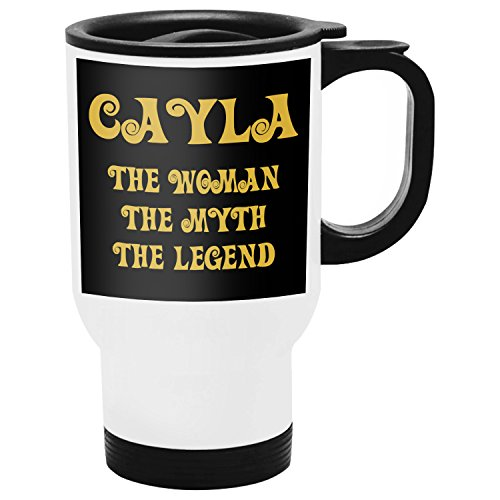 Office Yeti Cayla Travel Mug Taza de Viaje Termos Personalizados con Nombres, The Woman The Myth The Legend - Best Gifts Regalos for Women - Gold Black 1