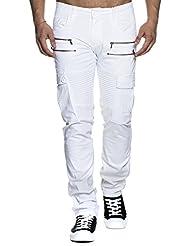 Tazzio Jeans Slim Fit Biker Style Messieurs Denim 16607Blanc