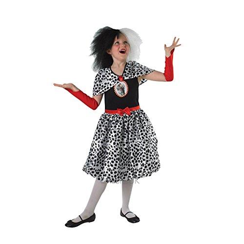Disney Deville Cruella Kostüme (Mädchen Cruella de Ville Rubies Kinder Kostüm–Perücke separat)