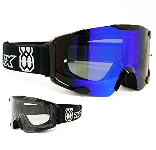 TWO-X Bomb Crossbrille schwarz Glas Light verspiegelt blau MX Brille Motocross Enduro Spiegelglas Motorradbrille Anti Scratch MX Schutzbrille