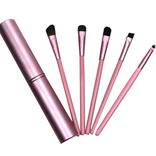 XQUILEG Make Up Pinsel Set-5 Augen Pinselset Augen Make Up Pinselset Augenbraue Pinsel Lidschattenpinsel zum Verblenden von Lidschatten, Kosmetik Puder, Highlighter und Concealer (Pink)
