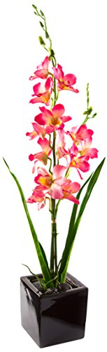 Peony 7304, Motiv Pfingstrose, Kunstpflanze in Blumentopf, quadratisch, Pink -