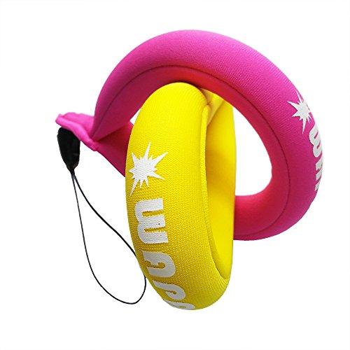 Wasserdichte Kamera Float - WAPAG Universal Schwimmende Bändchen Auftrieb Gürtel für Gopro / Panasonic / Nikon und Canon Powershot / Fujifilm Finepix / Wasserdichte Tasche / Handy (Yellow Pink)