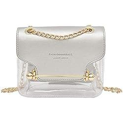 Dos Fashion Lady Sac carré transparent Sac à bandoulière Sac Messenger + Portefeuille à main