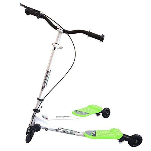 Lvbeis Scooter Scissor Swing Slider Adjustable Height Trike Striker Drifter Kids 3 Wheels,Green