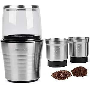 moulin caf et mixeur lectrique veohome pour grains de caf de lin et autres pices inox. Black Bedroom Furniture Sets. Home Design Ideas