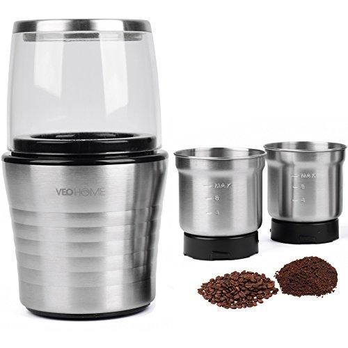 Moulin à café et mixeur électrique VeoHome pour grains de café, de lin et autres épices - inox