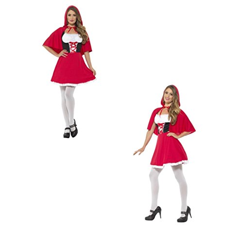 Womens Little Red Riding Hood Cape Red, with Short Dress Fancy Dress Costume Fairy Tail Story 44685 (UK Dress 12-14 (M))