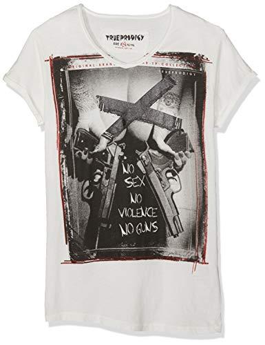 trueprodigy Casual Herren Marken T-Shirt Aufdruck Oberteil Cool Stylisch V-Ausschnitt Kurzarm Slim Fit Shirt Männer Bedruckt, Größe:XL, Farben:Offwhite