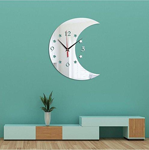 Shuangklei Spiegel Wanduhr Mond Sterne Spiegel Wanduhr 3D Uhr Mode Persönlichkeit Stumm Wanduhr,...