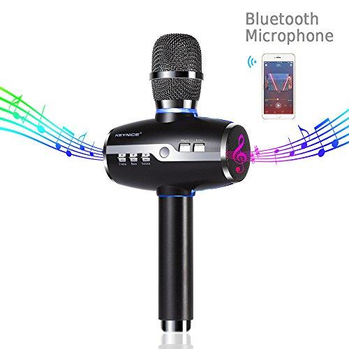 Keynice Senza Fili Wireless Portatili Doppie Microfono, Stereo 3D Suono Bluetooth Altoparlanti, Palmare Dinamico Microfono per Karaoke/ Feste/ Conferenze, Compatibile Android e iOS Sistema - Nero