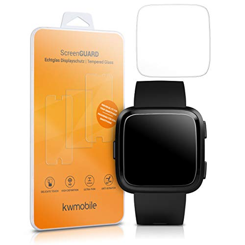 kwmobile 2X Echtglas Displayschutzfolie für Fitbit Versa/Versa Lite - Fitness Armband Schutzglas Folie Schutzfolie Displayschutz Glasfolie in kristallklar
