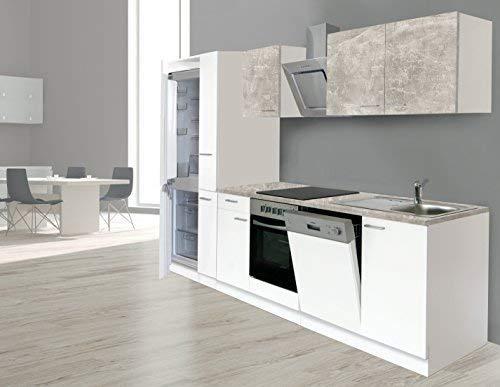 respekta Einbau Küche Küchenzeile Küchenblock 310 cm Weiss Beton Optik, inkl. Softclose Cerankochfeld Geschirrspülmaschine, Kühl-/Gefrierkombination 178 cm