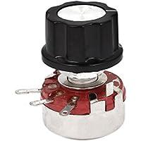 sourcingmap® Potenciómetro Würth118-1A 2W 10K ohmios cono giratorio de película de carbón con la perilla de control