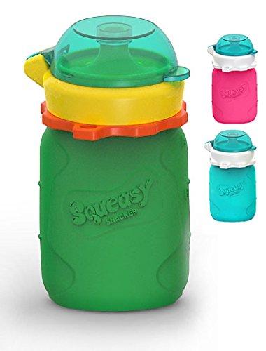 MINI Squeasy Snacker - Wiederverwendbares Quetschie aus Silikon, 100ml, Quetschbeutel zum selbst befüllen, BPA-frei (Grün) -