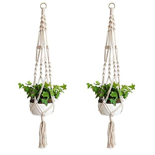 Ivyh pianta hanger-indoor fioriera per fioriera fioriera porta fioriera appesa a mano corda di iuta naturale confezione da 2 pezzi