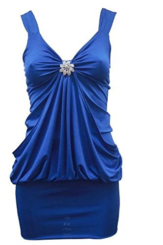 Top Fashion - Damen Ärmelloses Party Abendkleid Langes mit Brosche Clip Top - Blau - 44-46
