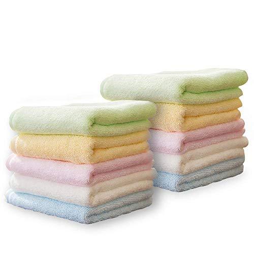 10er Waschlappen Baby Handtücher Weich Waschtücher Gesichtstücher Kleine Tücher Putztücher Bunt für Säuglinge Kinder Multifunktion 25x25cm Bambusfaser von YOOFOSS