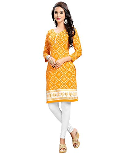 Kurti (Fashion Forever New Look Exclusive Women's Yellow Cotton Printed dailywear full stitched kurti_Size: M)  available at amazon for Rs.199