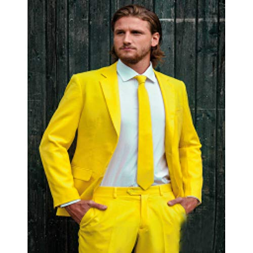 Business Mann Kostüm - GFRBJK Made Fashion Bräutigam Smoking Gelb One Button Kerbe Revers Männer Anzüge Männliche Kostüme Business Casual Einfarbig Jacke + Hose , Same As Image , 5XL