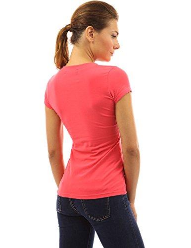 PattyBoutik Damen V-Ausschnitt stretch Bluse mit kurzen Ärmeln und Schnüren korallenrosa
