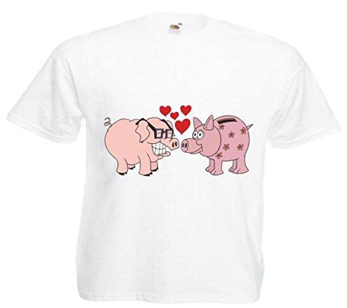 Motiv Fun T-Shirt Verliebte Schweine Cartoon Spass Kult Film Serie Motiv Nr. 11864 Weiß