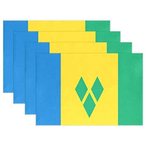 LVOE TTL Set mit 6 Tischsets St. Vincent und die Grenadinen Flagge rutschfeste waschbare K¨¹Che hitzebest?ndige Home Decor Dining Tischsets 12 X 18 Zoll