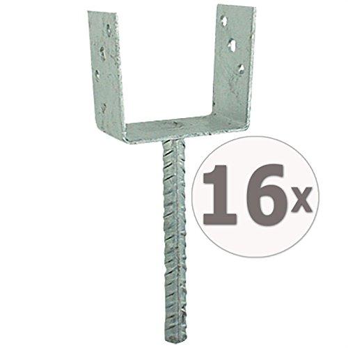 Gardopia Sparpaket: 16 x Uniqat Pfostenträger Pfostenanker U-Form 91mm mit 200 mm-Dolle, Feuerverzinkt