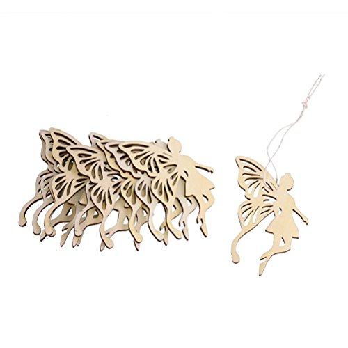Flügel Engel Fee aus Holz Gestaltung Dekoration Hängekorb für Weihnachtsbaum ()