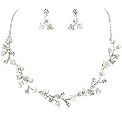 EVER FAITH® Austrian Crystal Bridal Flower Simulated Pearl Jewellery Set Silver-Tone Clear