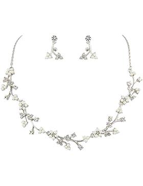 EVER FAITH® österreichische Kristall Kleine Blume Blätter Perle Schmuck-Set Silber-Ton N05151-1