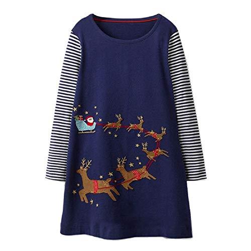 (OHBABYKA Little Girls Cute Casual Baumwolle Tiere Gedruckt Streifen Langarm Playwear Kleid (5T, Christmas Deer))