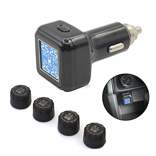 Pawaca pgt sistema di controllo della pressione dei pneumatici digitale, ad alta precisione wireless amk accendisigari da auto con 4pcs impermeabile esterna sensori a pressione, temperatura e display lcd, funzione di allarme in tempo reale