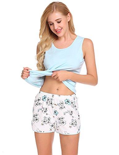 Schlafanzug Damen Kurz Zweiteiliger Pyjama Set Baumwolle Nachthemd Set aus Unifarben Hausanzug Oberteil und Blumen Shorts Rosa Blau