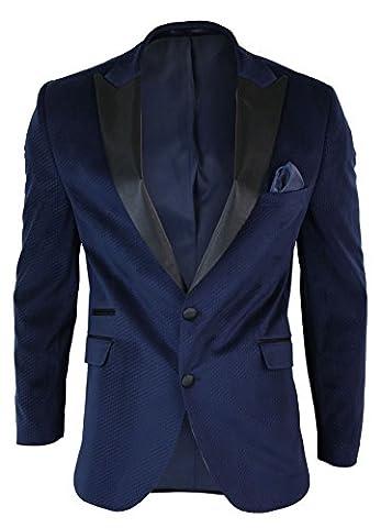 Mens Slim Fit 1 Button Velvet Blazer Tuxedo Dinner Jacket Navy Blue Black