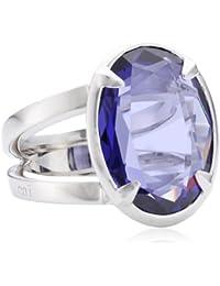 caï women Damen-Ring 925 Sterlingsilber rhodiniert Zirkonia blau