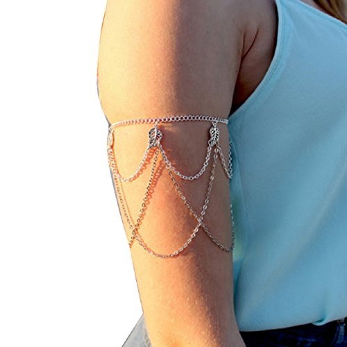 Malloom®hojas bordeadas manguito superior del brazo arneses borla cadena de esclavo brazalete