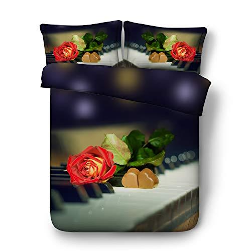 3D-Bettbezug, Spielzeugbär und Schokolade zum Valentinstag-Quilt-Set aus drei Sets Bettwäsche (Color : B, Size : 225×240) (Schokoladen-könig Bettwäsche-sets)