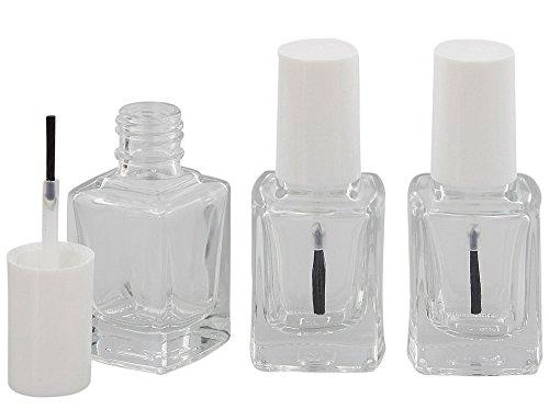 Nagellack-Flasche mit Pinsel, Glasklar leer für Selbstabfüller Kosmetex, Kappe weiß 13 ml, 3...