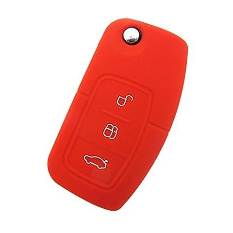 Happyit 2 pcs Silicone Housse de Protection à Distance pour Voiture apte à Ford Fiesta Focus 2 Ecosport Kuga Escape MK2 3 Boutons à Bascule (Rouge)
