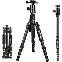 """ZOMEi Z699C Trépied de Caméra en Fibre de Carbone, 150cm Trepied Monopode Compacte avec 360 Degré Boule Tête +Plateau Rapide de 1/4"""" +Sac de Transport, pour la plupart des Caméras et Caméra Vidéo"""
