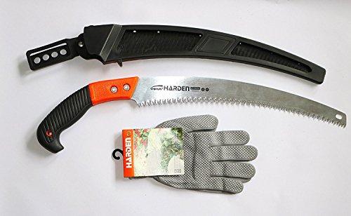 CALIDAD-Astsäge 330mm inkl. Handschuhe ,Handsäge mit gehärteten Zähnen,für frisches (Einziehbare Zähne)