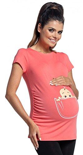 Zeta Ville Maternité - Top shirt de grossesse motif humour imprimé - femme 501c Corail