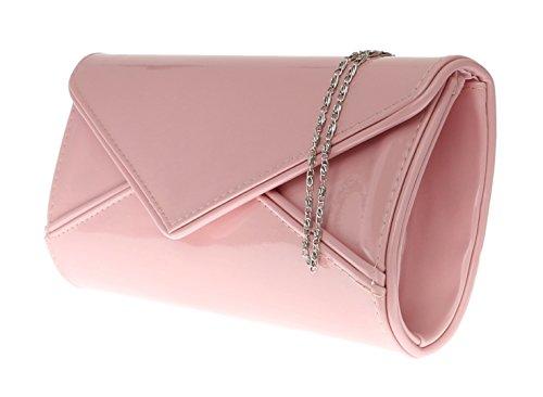 Girly HandBags Nude Verni Rougir Pochette Lustré Soirée Designer Néon Orange Fuchsia Jaune rose poudré